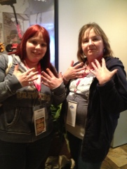 Lisa and her mom, Nancy, got their nails painted with Brewers colored polish.